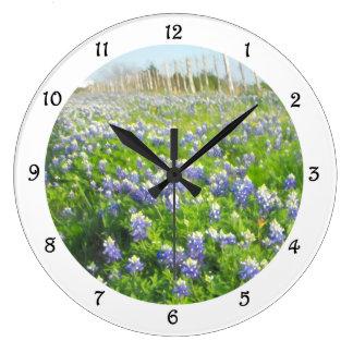 Roadside Bluebonnets Round Clock