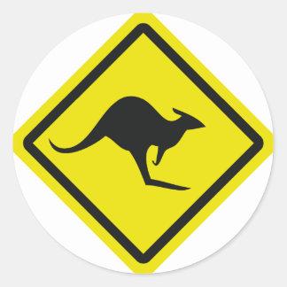 roadsign australia kangaroo icon classic round sticker