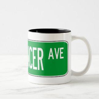 Roadsign bellydancer Two-Tone coffee mug