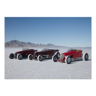 Roadsters on the Salt Flats Poster