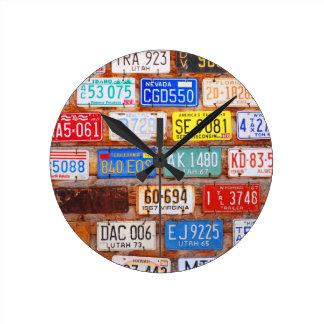 Roadtrip Gear - US License Plates Round Clock