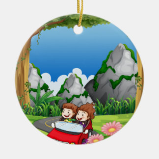 RoadtripPeople riding along the green forest Ceramic Ornament