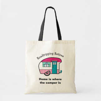 Roadtripping Retiree Pink and Teal Camper Tote Bag