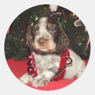 Roan English Springer Spaniel Christmas Puppy Classic Round Sticker