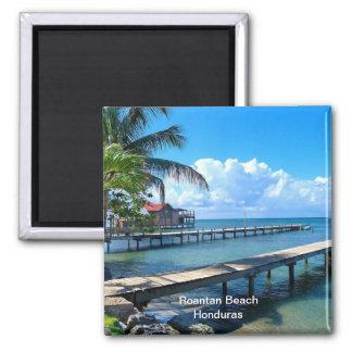 Roantan Beach, Honduras Square Magnet