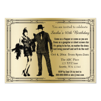 Roaring 20s art deco flapper girl and gangster 13 cm x 18 cm invitation card