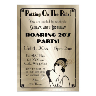 Roaring 20s art deco flapper girl invitation
