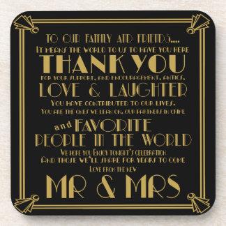 Roaring 20's Art Deco wedding thank you Coasters