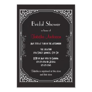 Roaring 20s Black - 3x5 Bridal Shower Invitation