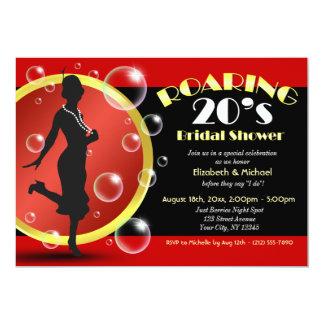 Roaring 20's Flapper Girl Bridal Shower Invitation