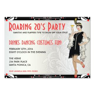 """Roaring 20's Flapper Girl Retro Invitations 5"""" X 7"""" Invitation Card"""