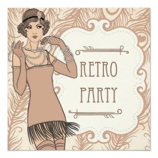 Roaring 20's Flapper Girl Retro Party Invitations Custom Invitations