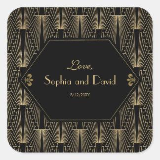 Roaring 20s Great Gatsby 1920s Art Deco Wedding Square Sticker