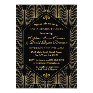 Roaring 20s Great Gatsby Art Deco Engagement Party Card