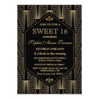 Roaring 20s Great Gatsby Art Deco Sweet 16 Party Card