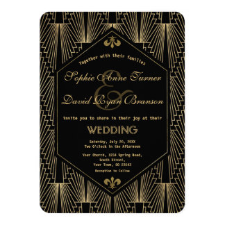 Roaring 20s Great Gatsby Vintage Art Deco Wedding Card