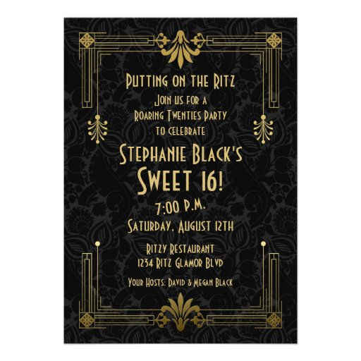 Roaring 20s Twenties Art Deco Sweet 16 Birthday Personalized Invitation