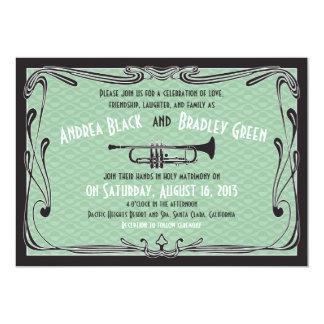 Roaring 20s Twenties Trumpet Mint Green Wedding Card