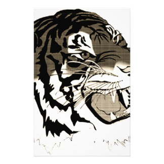 Roaring Black And White Tiger Stationery Paper