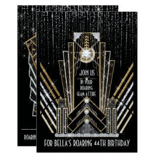 Roaring Gatsby Art Deco Bling Party Invitations