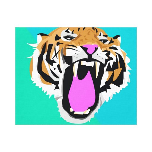 Roaring Tiger Stretched Canvas Prints