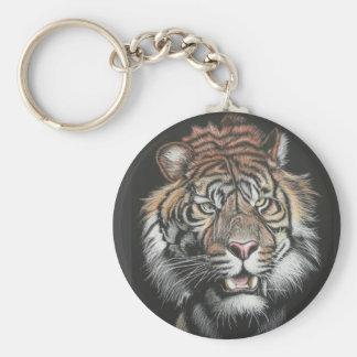 Roaring Tiger in Scratch Board Key Ring