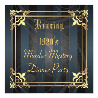 Roaring Twenties Art Deco Black Party Invitation