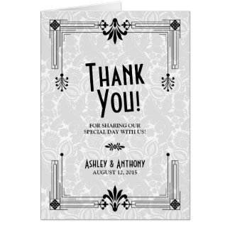 Roaring Twenties Art Deco Wedding Thank You Card