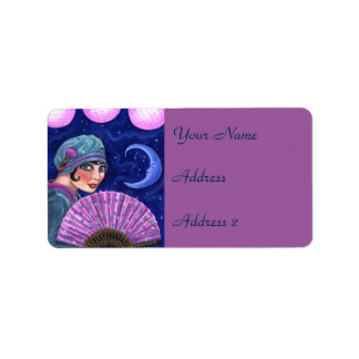 Roaring Twenties Flapper Girl Fan Moon Stars Address Label