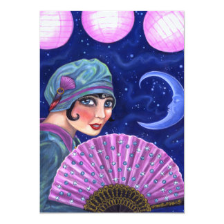 Roaring Twenties Flapper Girl Fan Moon Stars Card