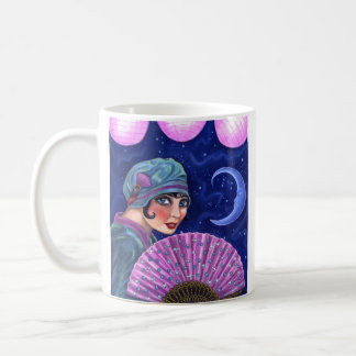 Roaring Twenties Flapper Girl Fan Moon Stars Coffee Mug