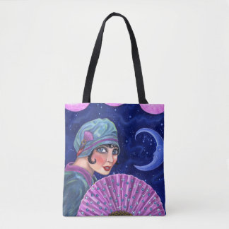 Roaring Twenties Flapper Girl Fan Moon Stars Tote Bag