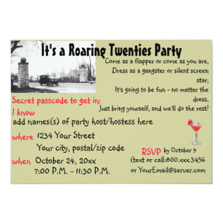 Roaring Twenties Speakeasy Theme Party 13 Cm X 18 Cm Invitation Card
