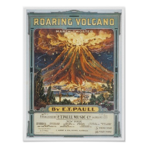 Roaring Volcano Vintage Songbook Cover Poster