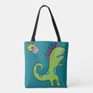 Roary the T-Rex - All-Over-Print Tote Turquoise