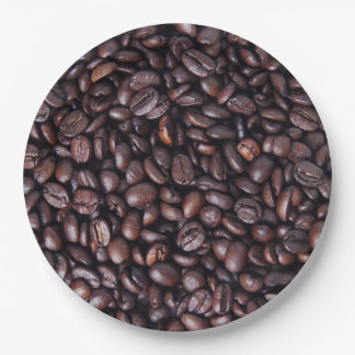 Roasted coffee beans paper plate