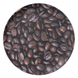 Roasted coffee beans plate