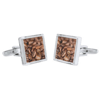Roasted Coffee Beans Silver Finish Cufflinks