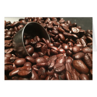 Roasted Coffee Beans With Silver Scoop Photograph Card