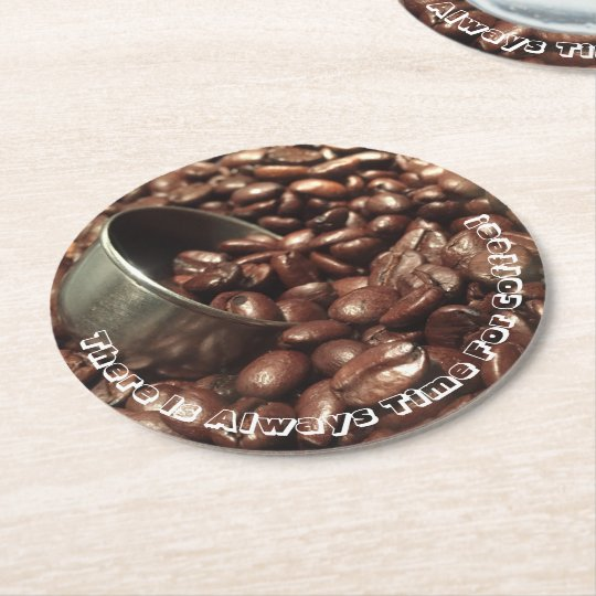 Roasted Coffee Beans With Silver Scoop Photograph Round Paper Coaster