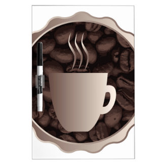 Roasted Coffee Cup Sign Dry Erase White Board