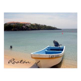 roatán boat postcard