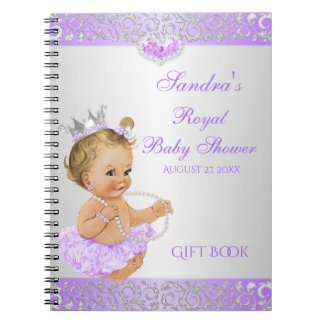 Roayl Princess Lilac Silver Diamonds Gift Guest Spiral Notebooks