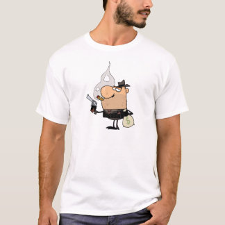Robber With Gun And Money Bag T-Shirt