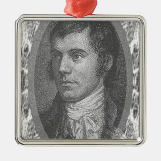 Robbie Burns Portrait (Grey) Silver-Colored Square Decoration