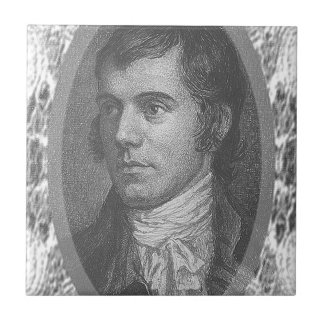 Robbie Burns Portrait (Grey) Small Square Tile