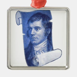 Robbie Burns Silver-Colored Square Decoration