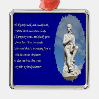 Robert Burns (1759–1796) Poems and Song Silver-Colored Square Decoration