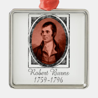 Robert Burns Silver-Colored Square Decoration