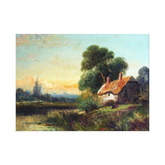Robert Fenson View with a Cottage by a Stream Canvas Print